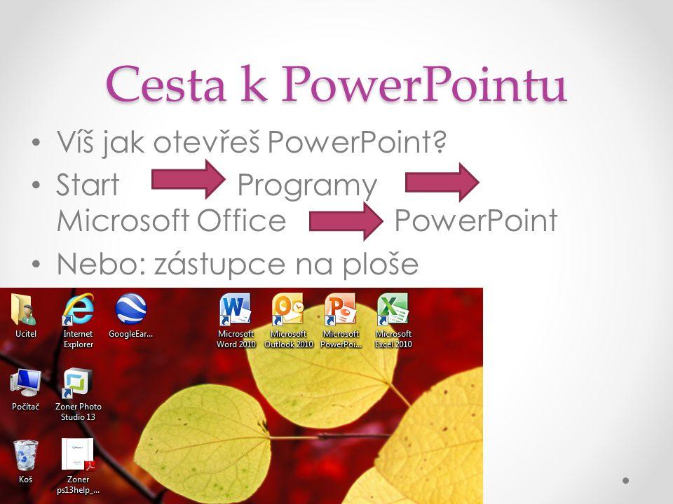 Cesta k PowerPointu Víš jak otevřeš PowerPoint.