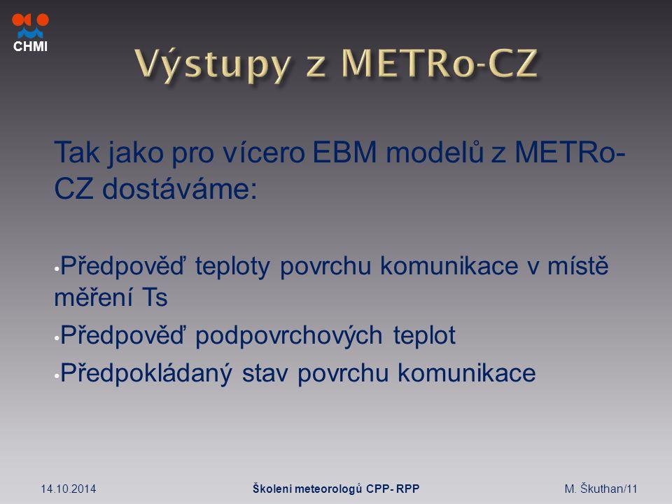 CHMI Tak jako pro vícero EBM modelů z METRo- CZ dostáváme: Předpověď teploty povrchu komunikace v místě měření Ts Předpověď podpovrchových teplot Předpokládaný stav povrchu komunikace 14.10.2014M.