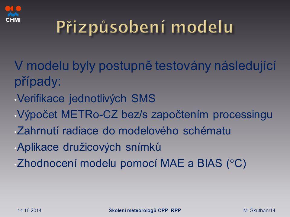 CHMI V modelu byly postupně testovány následující případy: Verifikace jednotlivých SMS Výpočet METRo-CZ bez/s započtením processingu Zahrnutí radiace do modelového schématu Aplikace družicových snímků Zhodnocení modelu pomocí MAE a BIAS (  C) 14.10.2014M.