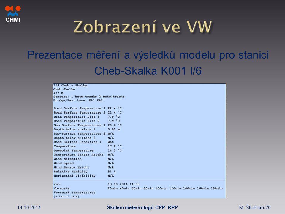 CHMI Prezentace měření a výsledků modelu pro stanici Cheb-Skalka K001 I/6 14.10.2014M.