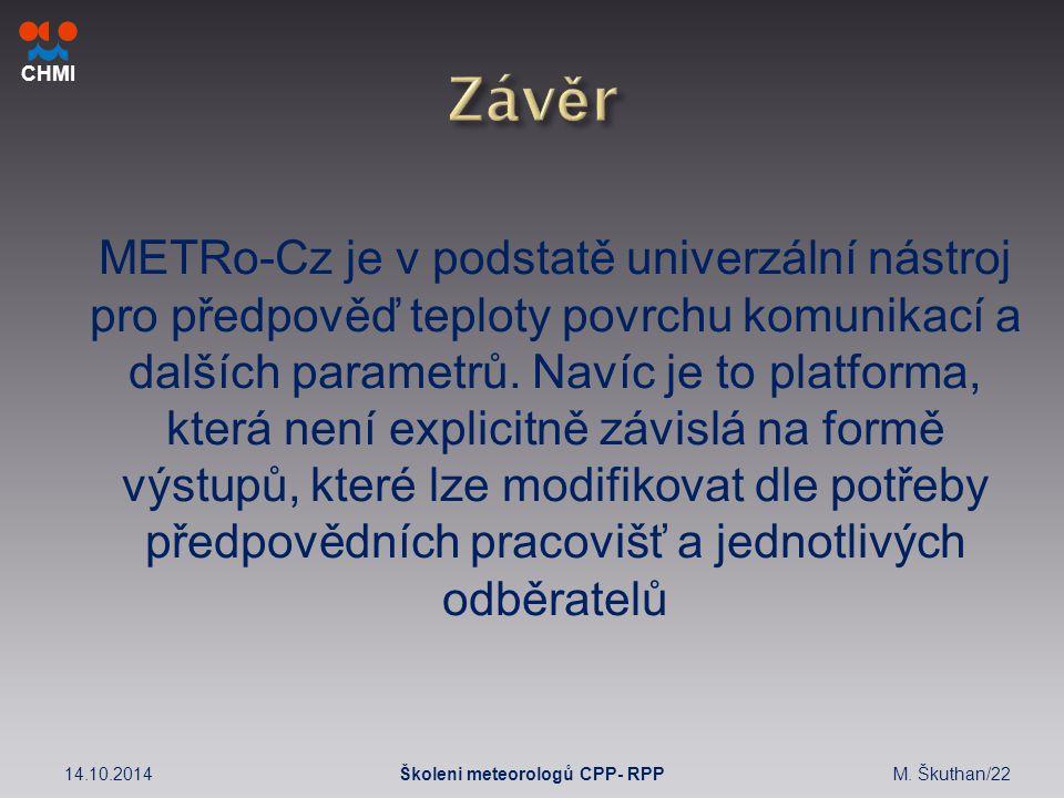CHMI METRo-Cz je v podstatě univerzální nástroj pro předpověď teploty povrchu komunikací a dalších parametrů.