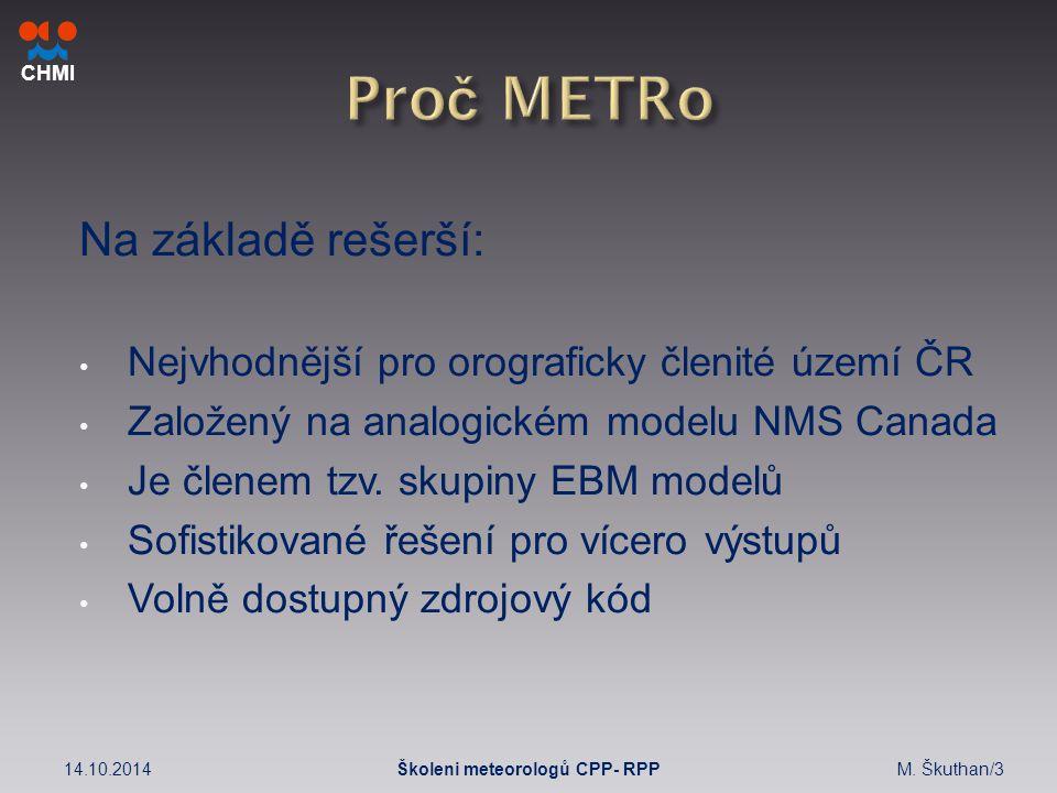 CHMI Na základě rešerší: Nejvhodnější pro orograficky členité území ČR Založený na analogickém modelu NMS Canada Je členem tzv.