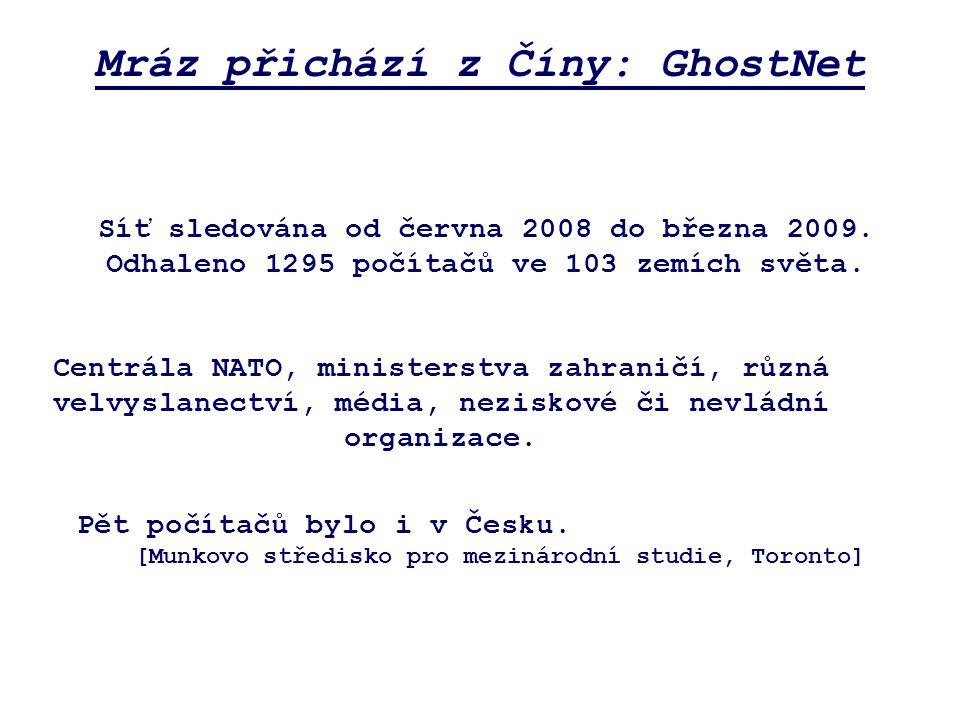 Mráz přichází z Číny: GhostNet Centrála NATO, ministerstva zahraničí, různá velvyslanectví, média, neziskové či nevládní organizace.