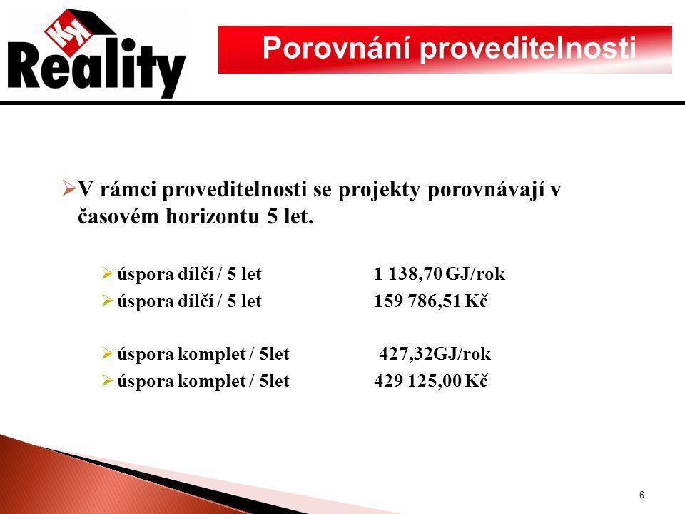 Porovnání proveditelnosti  V rámci proveditelnosti se projekty porovnávají v časovém horizontu 5 let.  úspora dílčí / 5 let1 138,70 GJ/rok  úspora