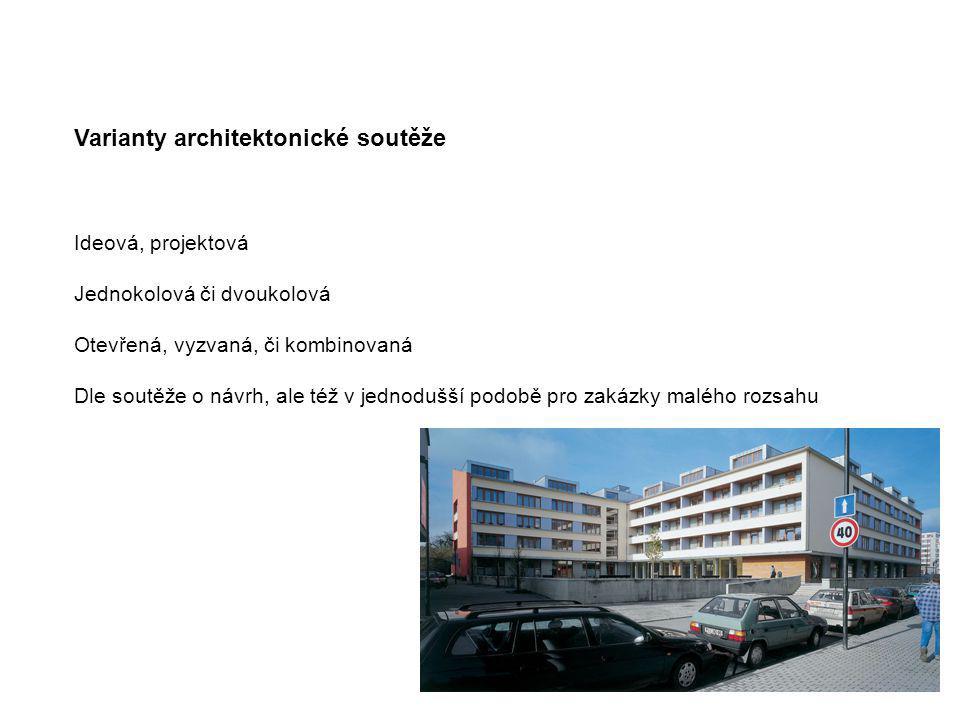 Varianty architektonické soutěže Ideová, projektová Jednokolová či dvoukolová Otevřená, vyzvaná, či kombinovaná Dle soutěže o návrh, ale též v jednodu