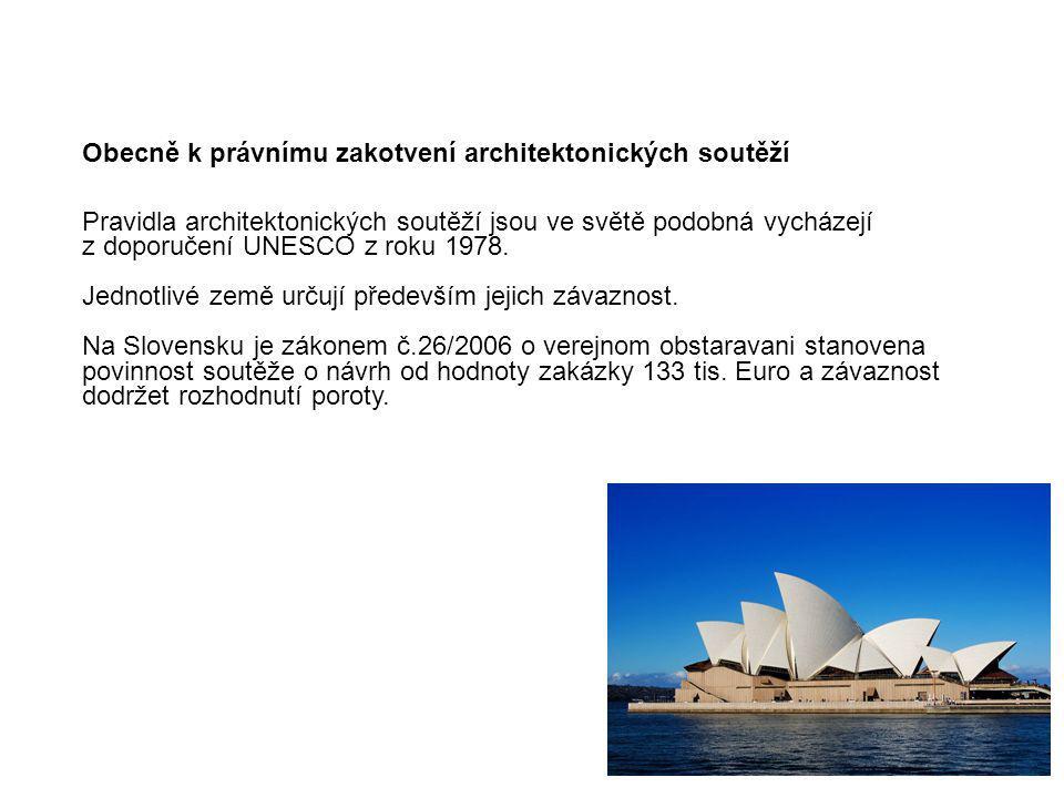 Obecně k právnímu zakotvení architektonických soutěží Pravidla architektonických soutěží jsou ve světě podobná vycházejí z doporučení UNESCO z roku 19