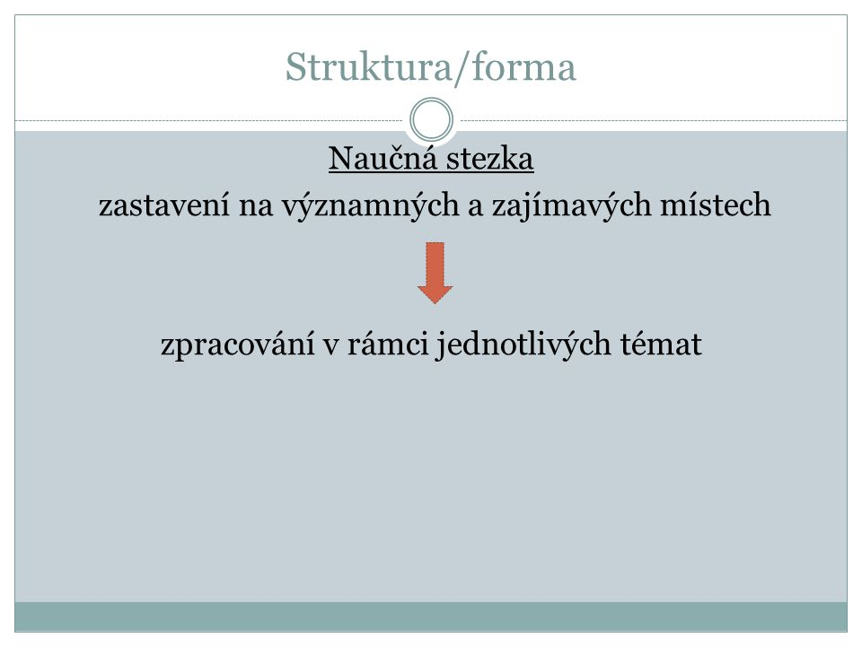 Struktura/forma Naučná stezka zastavení na významných a zajímavých místech zpracování v rámci jednotlivých témat