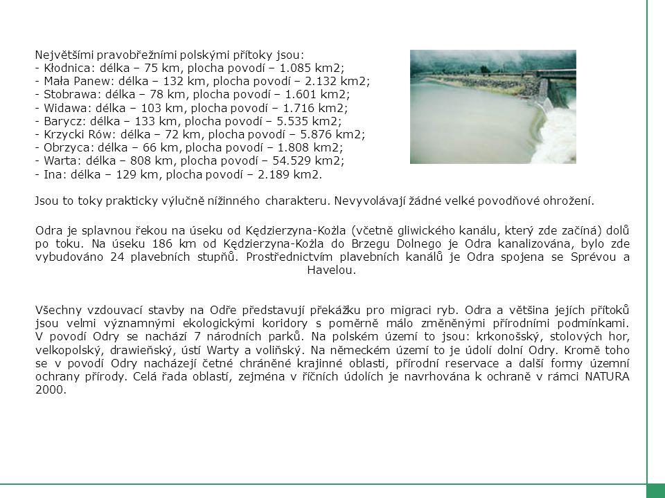 Největšími pravobřežními polskými přítoky jsou: - Kłodnica: délka – 75 km, plocha povodí – 1.085 km2; - Mała Panew: délka – 132 km, plocha povodí – 2.132 km2; - Stobrawa: délka – 78 km, plocha povodí – 1.601 km2; - Widawa: délka – 103 km, plocha povodí – 1.716 km2; - Barycz: délka – 133 km, plocha povodí – 5.535 km2; - Krzycki Rów: délka – 72 km, plocha povodí – 5.876 km2; - Obrzyca: délka – 66 km, plocha povodí – 1.808 km2; - Warta: délka – 808 km, plocha povodí – 54.529 km2; - Ina: délka – 129 km, plocha povodí – 2.189 km2.