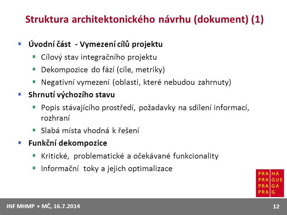 Struktura architektonického návrhu (dokument) (1)  Úvodní část - Vymezení cílů projektu  Cílový stav integračního projektu  Dekompozice do fází (cí