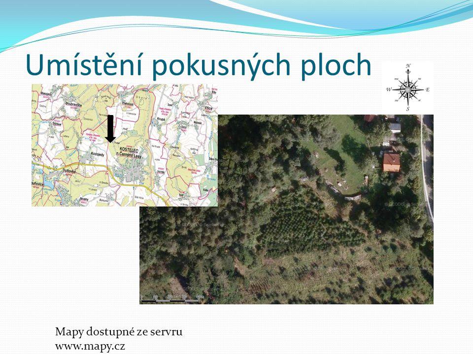 Umístění pokusných ploch Mapy dostupné ze servru www.mapy.cz