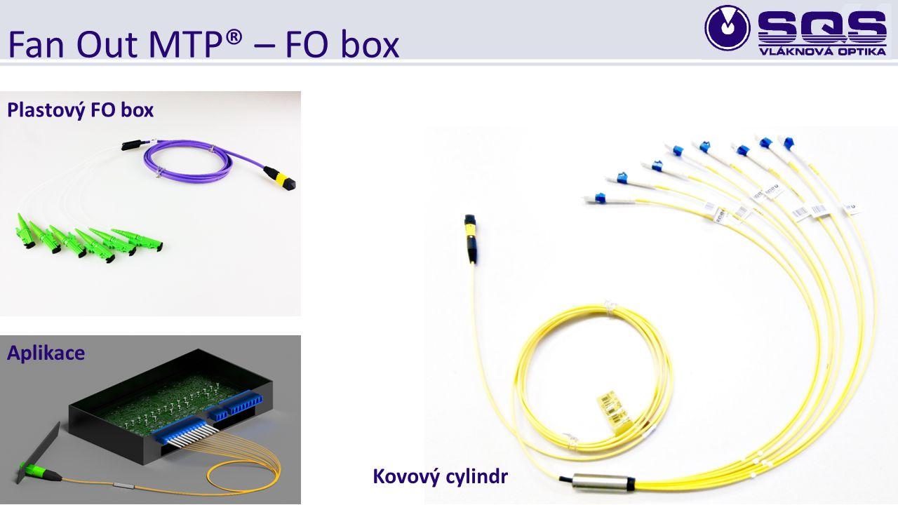 Fan Out MTP® – FO box Kovový cylindr Plastový FO box Aplikace