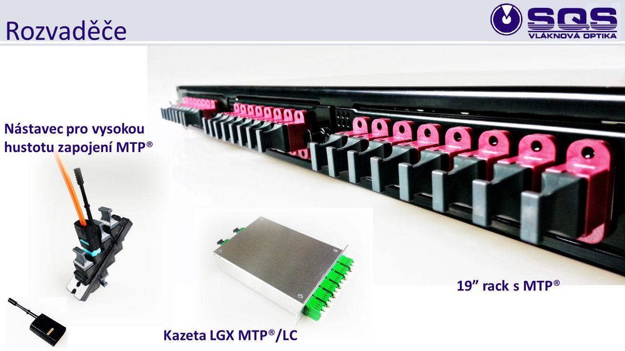 """Rozvaděče 19"""" rack s MTP® Kazeta LGX MTP®/LC Nástavec pro vysokou hustotu zapojení MTP®"""