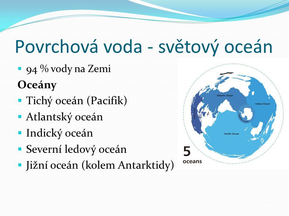 Povrchová voda - světový oceán  94 % vody na Zemi Oceány  Tichý oceán (Pacifik)  Atlantský oceán  Indický oceán  Severní ledový oceán  Jižní oce