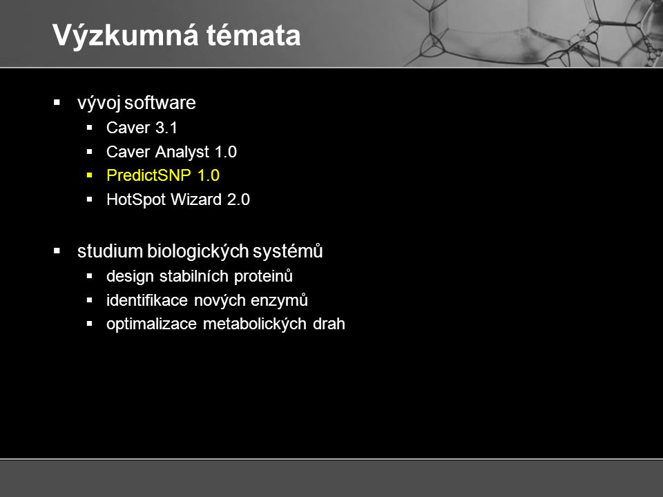  predikce vlivu mutací na funkci proteinů PredictSNP 1.0 Bendl, J.