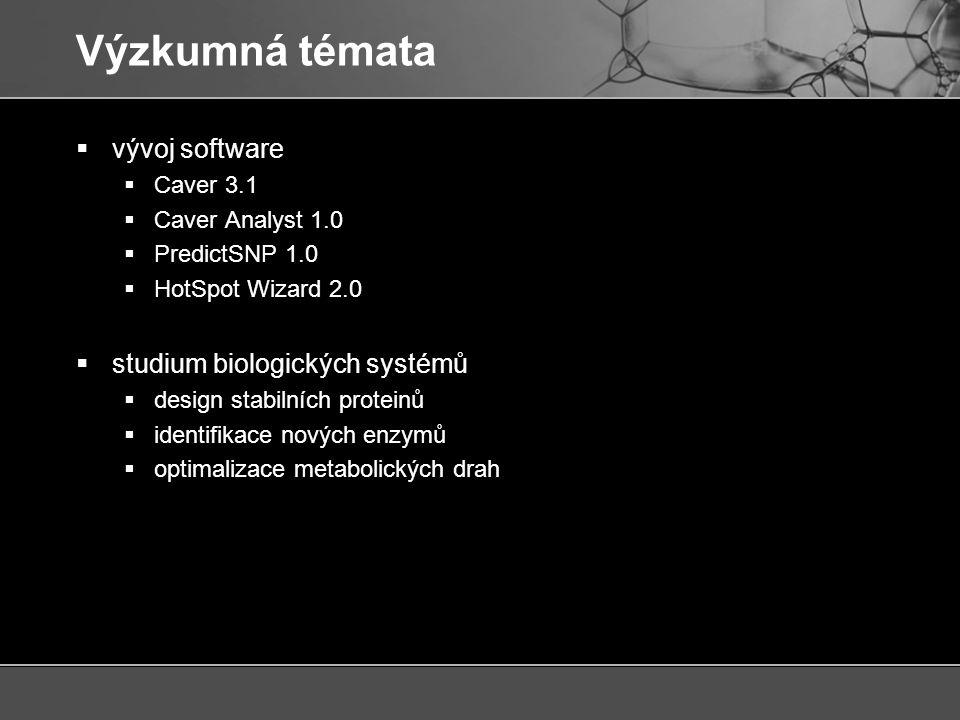 Výzkumná témata  vývoj software  Caver 3.1  Caver Analyst 1.0  PredictSNP 1.0  HotSpot Wizard 2.0  studium biologických systémů  design stabilních proteinů  identifikace nových enzymů  optimalizace metabolických drah