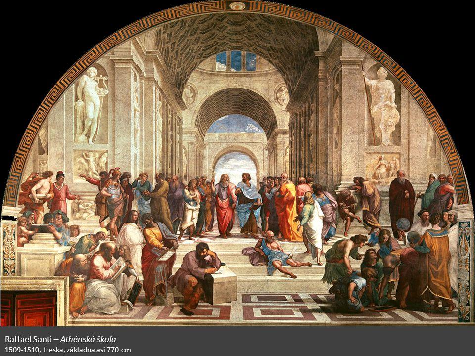 Raffael Santi – Athénská škola 1509-1510, freska, základna asi 770 cm