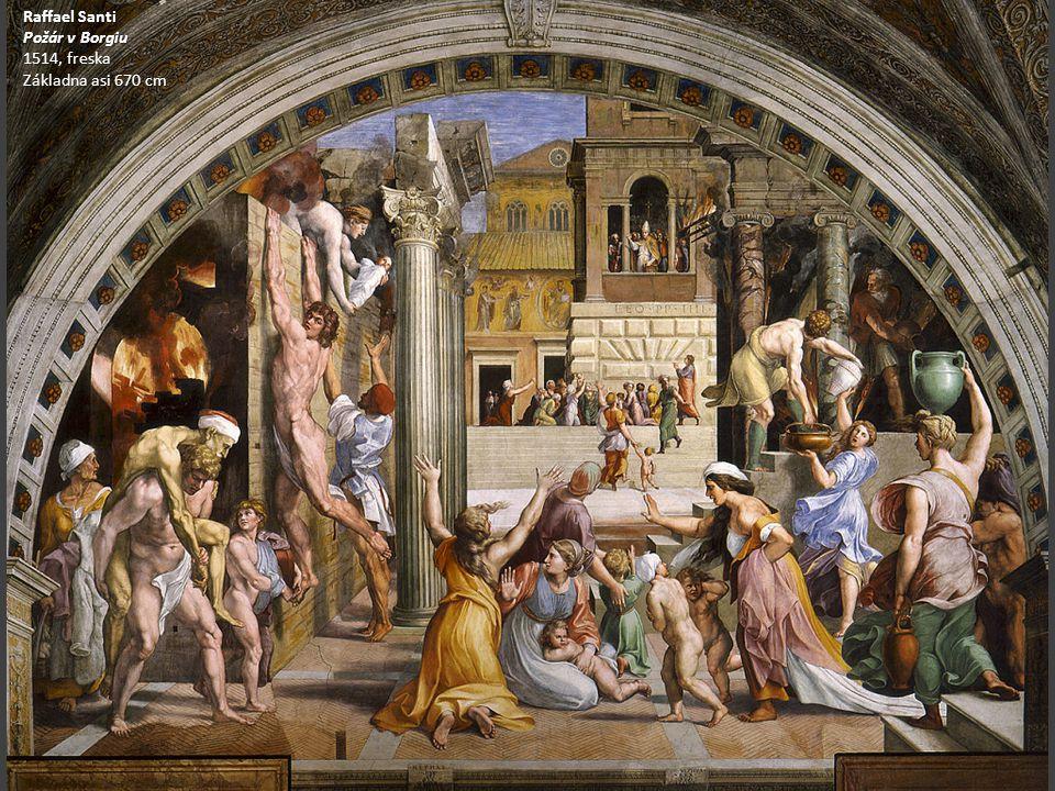 Raffael Santi Požár v Borgiu 1514, freska Základna asi 670 cm
