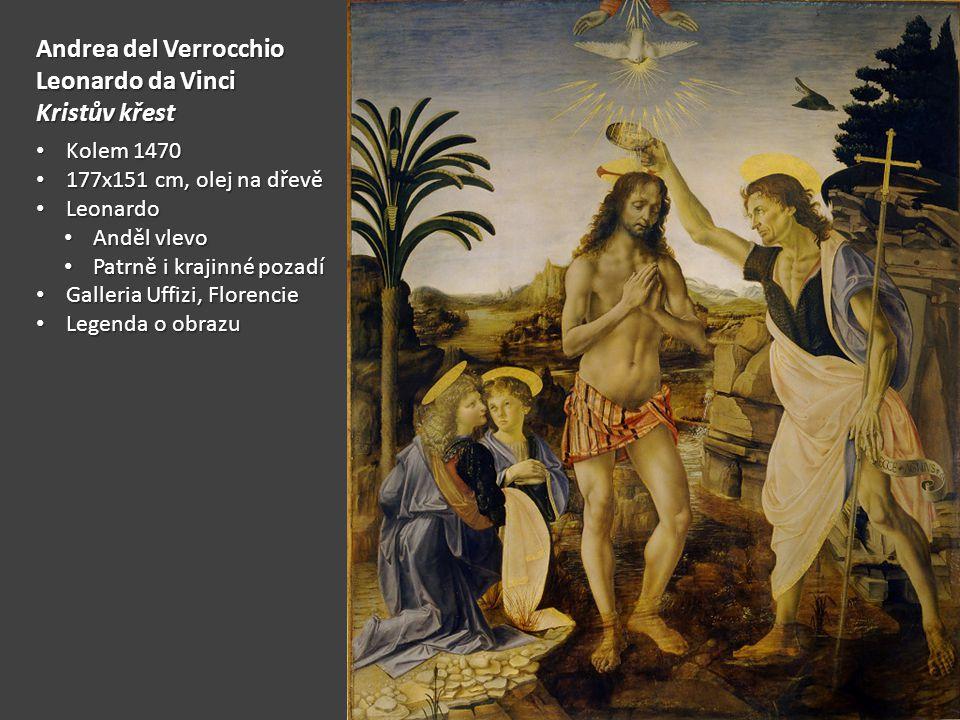Andrea del Verrocchio Leonardo da Vinci Kristův křest Kolem 1470 Kolem 1470 177x151 cm, olej na dřevě 177x151 cm, olej na dřevě Leonardo Leonardo Anděl vlevo Anděl vlevo Patrně i krajinné pozadí Patrně i krajinné pozadí Galleria Uffizi, Florencie Galleria Uffizi, Florencie Legenda o obrazu Legenda o obrazu