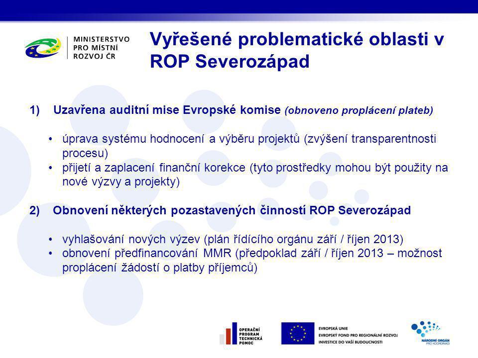 Vyřešené problematické oblasti v ROP Severozápad 1)Uzavřena auditní mise Evropské komise (obnoveno proplácení plateb) úprava systému hodnocení a výběru projektů (zvýšení transparentnosti procesu) přijetí a zaplacení finanční korekce (tyto prostředky mohou být použity na nové výzvy a projekty) 2) Obnovení některých pozastavených činností ROP Severozápad vyhlašování nových výzev (plán řídícího orgánu září / říjen 2013) obnovení předfinancování MMR (předpoklad září / říjen 2013 – možnost proplácení žádostí o platby příjemců)