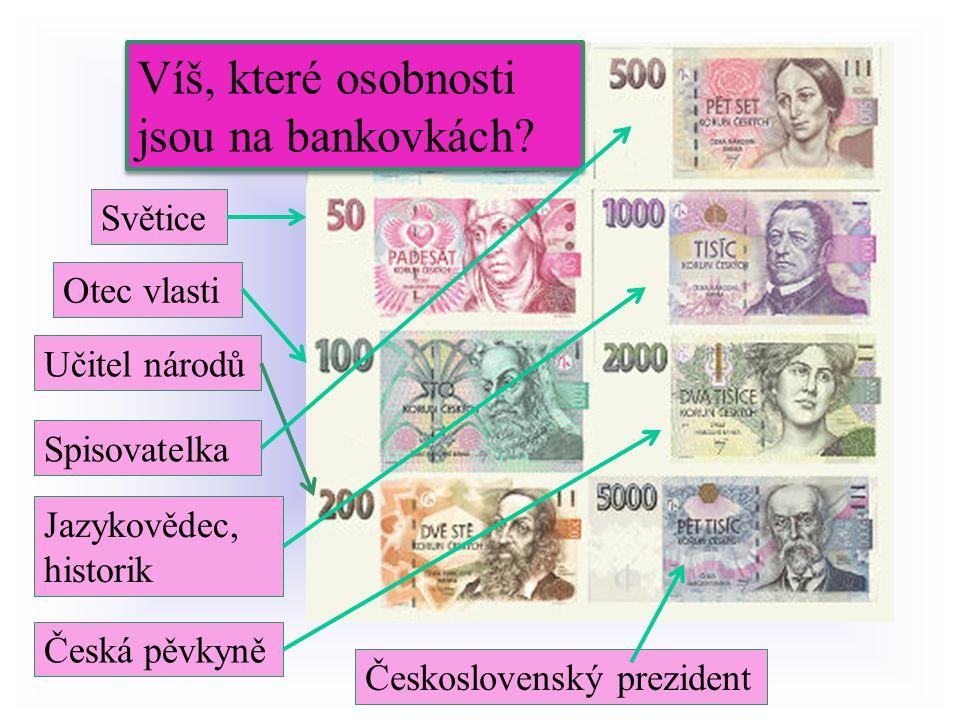 Víš, které osobnosti jsou na bankovkách.