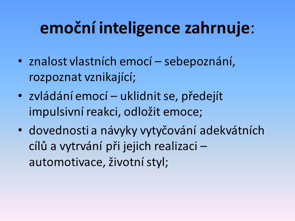 emoční inteligence zahrnuje: znalost vlastních emocí – sebepoznání, rozpoznat vznikající; zvládání emocí – uklidnit se, předejít impulsivní reakci, odložit emoce; dovednosti a návyky vytyčování adekvátních cílů a vytrvání při jejich realizaci – automotivace, životní styl;