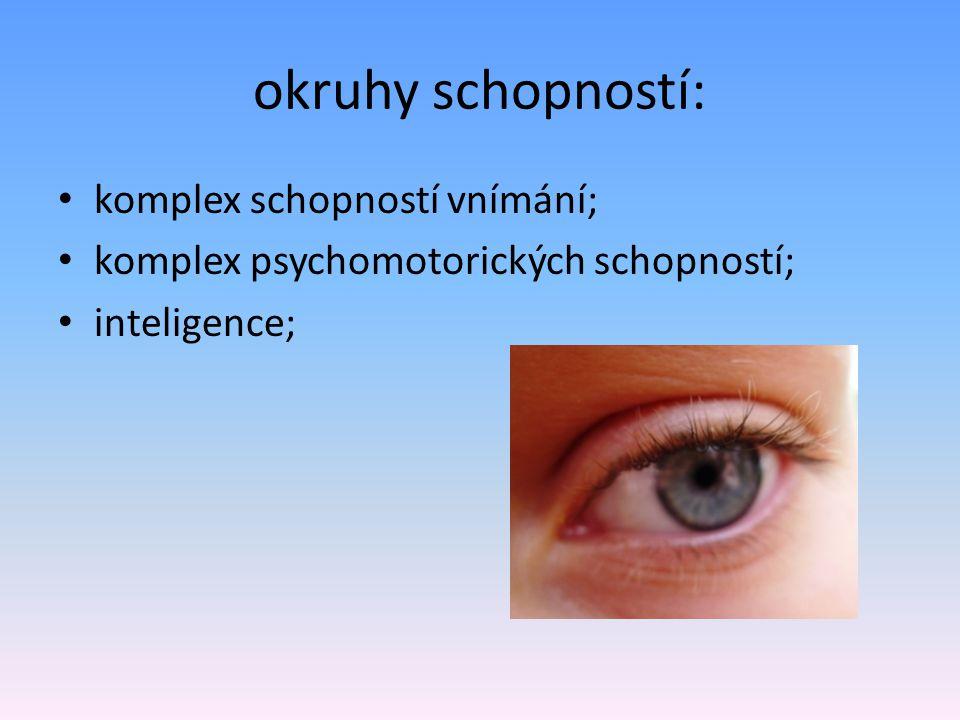 okruhy schopností: komplex schopností vnímání; komplex psychomotorických schopností; inteligence;