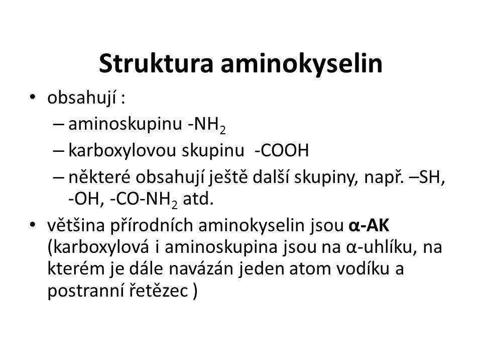 Struktura aminokyselin obsahují : – aminoskupinu -NH 2 – karboxylovou skupinu -COOH – některé obsahují ještě další skupiny, např. –SH, -OH, -CO-NH 2 a