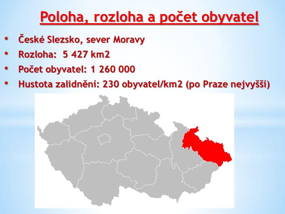 Poloha, rozloha a počet obyvatel České Slezsko, sever Moravy České Slezsko, sever Moravy Rozloha: 5 427 km2 Rozloha: 5 427 km2 Počet obyvatel: 1 260 000 Počet obyvatel: 1 260 000 Hustota zalidnění: 230 obyvatel/km2 (po Praze nejvyšší) Hustota zalidnění: 230 obyvatel/km2 (po Praze nejvyšší)