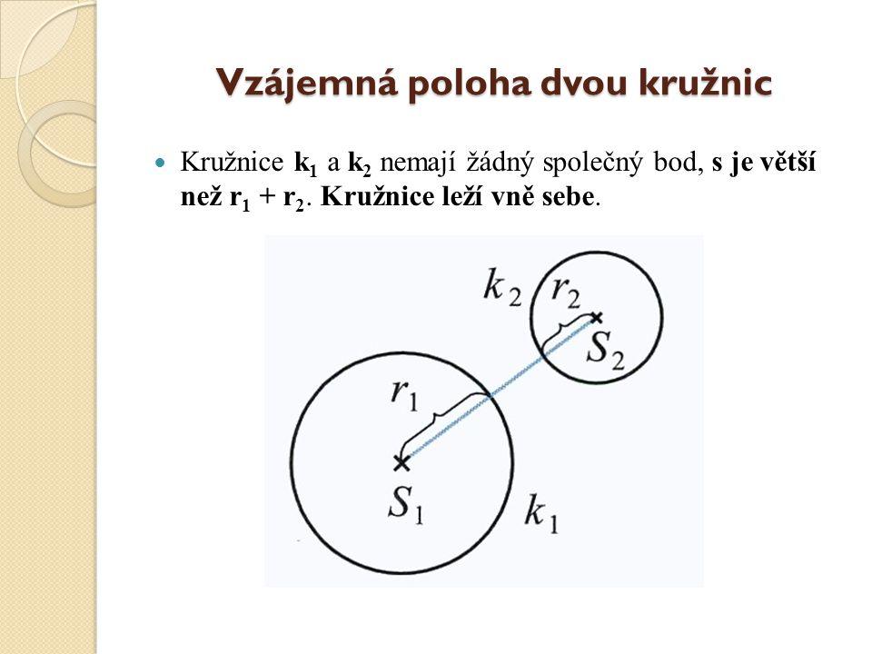 Vzájemná poloha dvou kružnic Kružnice k 1 a k 2 nemají žádný společný bod, s je větší než r 1 + r 2.