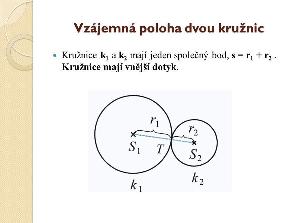Vzájemná poloha dvou kružnic Kružnice k 1 a k 2 nemají žádný společný bod, s je větší než r 1 + r 2. Kružnice leží vně sebe.