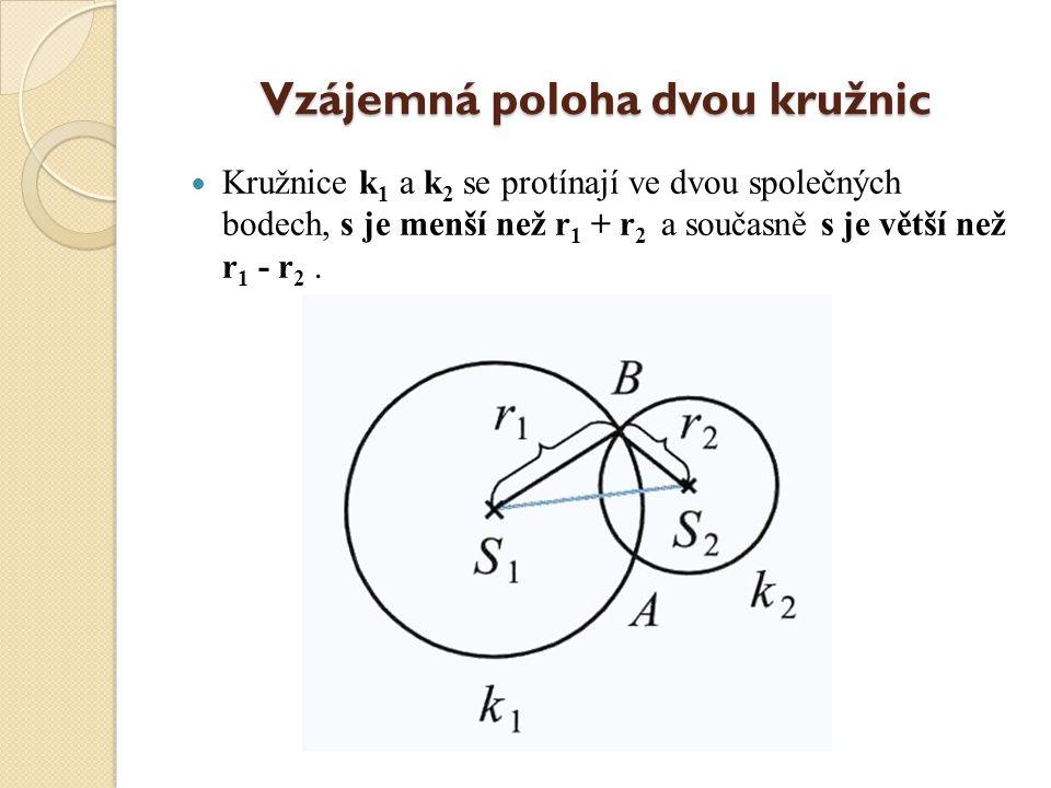 Vzájemná poloha dvou kružnic Kružnice k 1 a k 2 mají jeden společný bod, s = r 1 + r 2. Kružnice mají vnější dotyk.