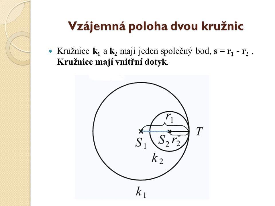 Vzájemná poloha dvou kružnic Kružnice k 1 a k 2 se protínají ve dvou společných bodech, s je menší než r 1 + r 2 a současně s je větší než r 1 - r 2.