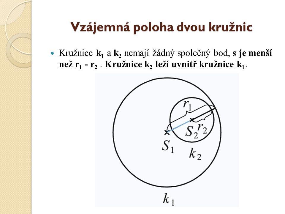 Vzájemná poloha dvou kružnic Kružnice k 1 a k 2 mají jeden společný bod, s = r 1 - r 2. Kružnice mají vnitřní dotyk.