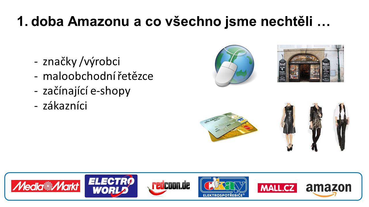 1. doba Amazonu a co všechno jsme nechtěli … -značky /výrobci -maloobchodní řetězce -začínající e-shopy -zákazníci