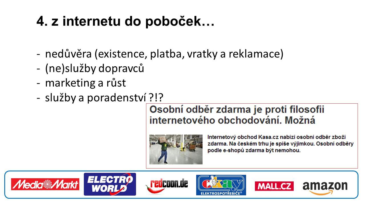 4. z internetu do poboček… -nedůvěra (existence, platba, vratky a reklamace) -(ne)služby dopravců -marketing a růst -služby a poradenství ?!?