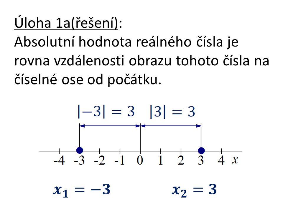 Úloha 1a(řešení): Absolutní hodnota reálného čísla je rovna vzdálenosti obrazu tohoto čísla na číselné ose od počátku.