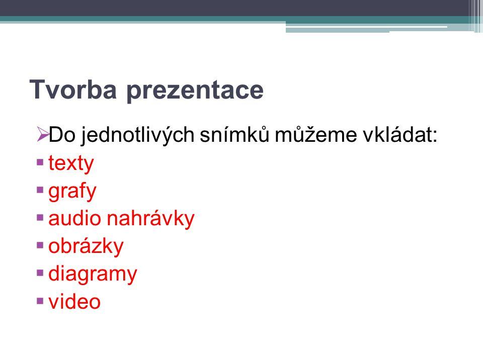 Tvorba prezentace  Do jednotlivých snímků můžeme vkládat:  texty  grafy  audio nahrávky  obrázky  diagramy  video
