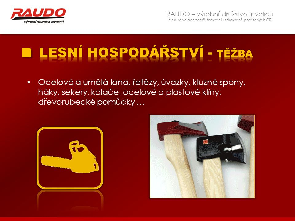 RAUDO – výrobní družstvo invalidů člen Asociace zaměstnavatelů zdravotně postižených ČR  Ocelová a umělá lana, řetězy, úvazky, kluzné spony, háky, se