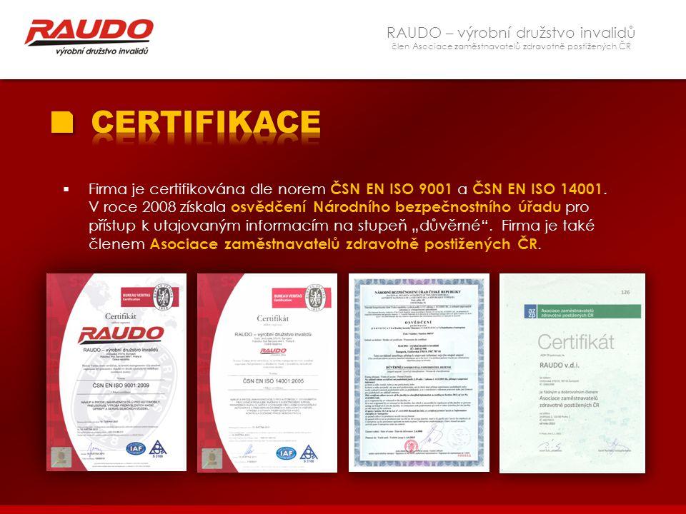 RAUDO – výrobní družstvo invalidů člen Asociace zaměstnavatelů zdravotně postižených ČR  Firma je certifikována dle norem ČSN EN ISO 9001 a ČSN EN IS