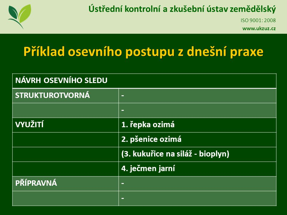 Ústřední kontrolní a zkušební ústav zemědělský ISO 9001: 2008 www.ukzuz.cz Ústřední kontrolní a zkušební ústav zemědělský ISO 9001: 2008 www.ukzuz.cz Děkuji za pozornost Ing.