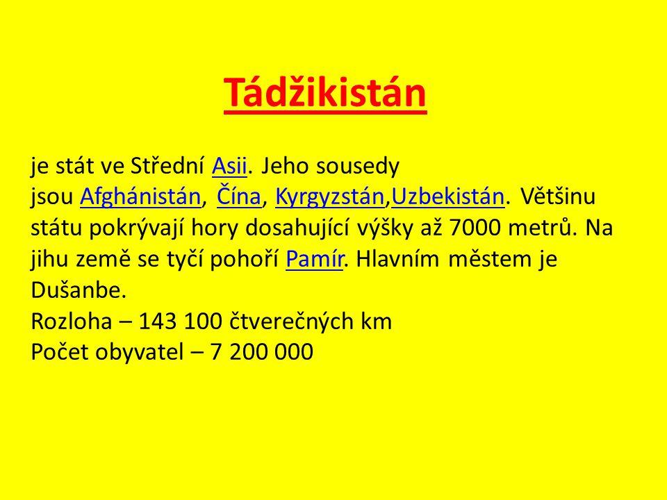 Tádžikistán je stát ve Střední Asii. Jeho sousedy jsou Afghánistán, Čína, Kyrgyzstán,Uzbekistán. Většinu státu pokrývají hory dosahující výšky až 7000
