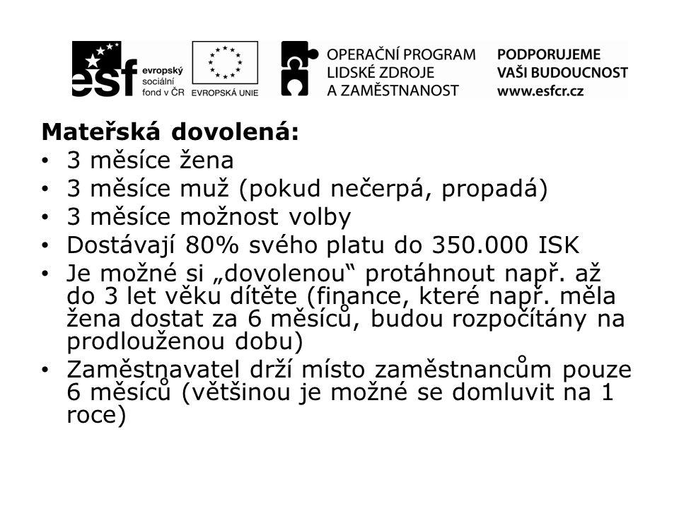 """Mateřská dovolená: 3 měsíce žena 3 měsíce muž (pokud nečerpá, propadá) 3 měsíce možnost volby Dostávají 80% svého platu do 350.000 ISK Je možné si """"dovolenou protáhnout např."""