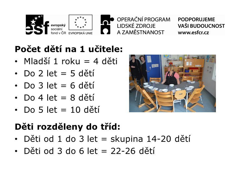 Počet dětí na 1 učitele: Mladší 1 roku = 4 děti Do 2 let = 5 dětí Do 3 let = 6 dětí Do 4 let = 8 dětí Do 5 let = 10 dětí Děti rozděleny do tříd: Děti od 1 do 3 let = skupina 14-20 dětí Děti od 3 do 6 let = 22-26 dětí