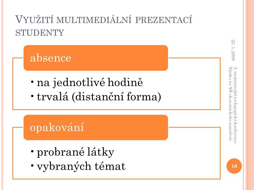 V YUŽITÍ MULTIMEDIÁLNÍ PREZENTACÍ STUDENTY na jednotlivé hodině trvalá (distanční forma) absence probrané látky vybraných témat opakování 23. 1. 2008