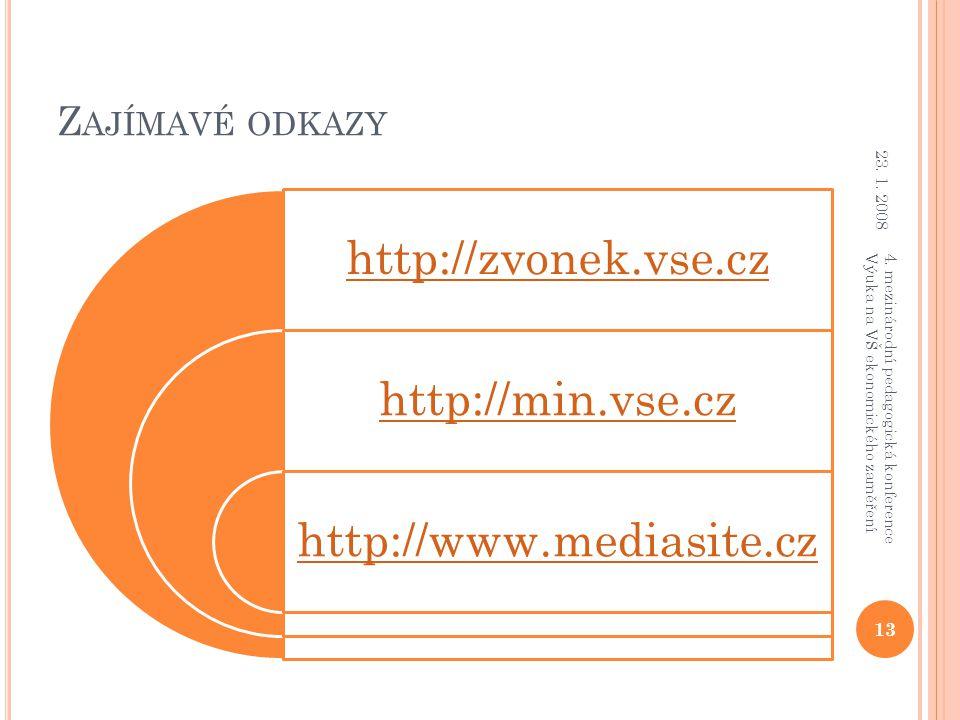 Z AJÍMAVÉ ODKAZY http://zvonek.vse.cz http://min.vse.cz http://www.mediasite.cz 23. 1. 2008 13 4. mezinárodní pedagogická konference Výuka na VŠ ekono