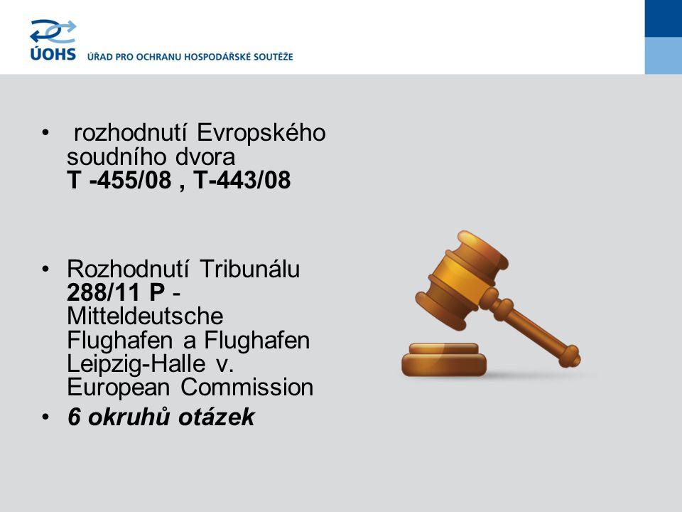 rozhodnutí Evropského soudního dvora T -455/08, T-443/08 Rozhodnutí Tribunálu 288/11 P - Mitteldeutsche Flughafen a Flughafen Leipzig-Halle v.