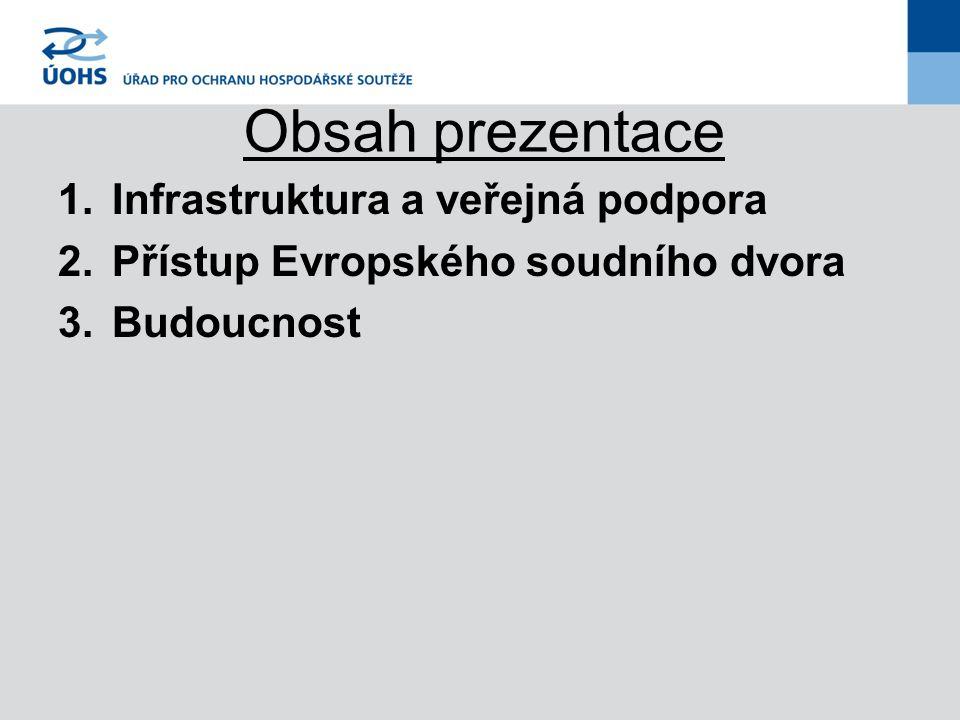 Obsah prezentace 1.Infrastruktura a veřejná podpora 2.Přístup Evropského soudního dvora 3.Budoucnost