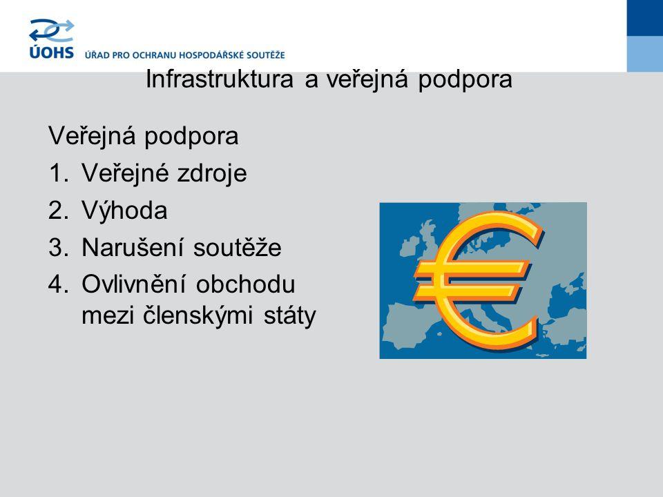 Infrastruktura a veřejná podpora Veřejná podpora 1.Veřejné zdroje 2.Výhoda 3.Narušení soutěže 4.Ovlivnění obchodu mezi členskými státy