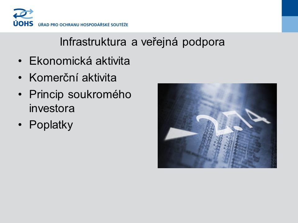 Infrastruktura a veřejná podpora Ekonomická aktivita Komerční aktivita Princip soukromého investora Poplatky