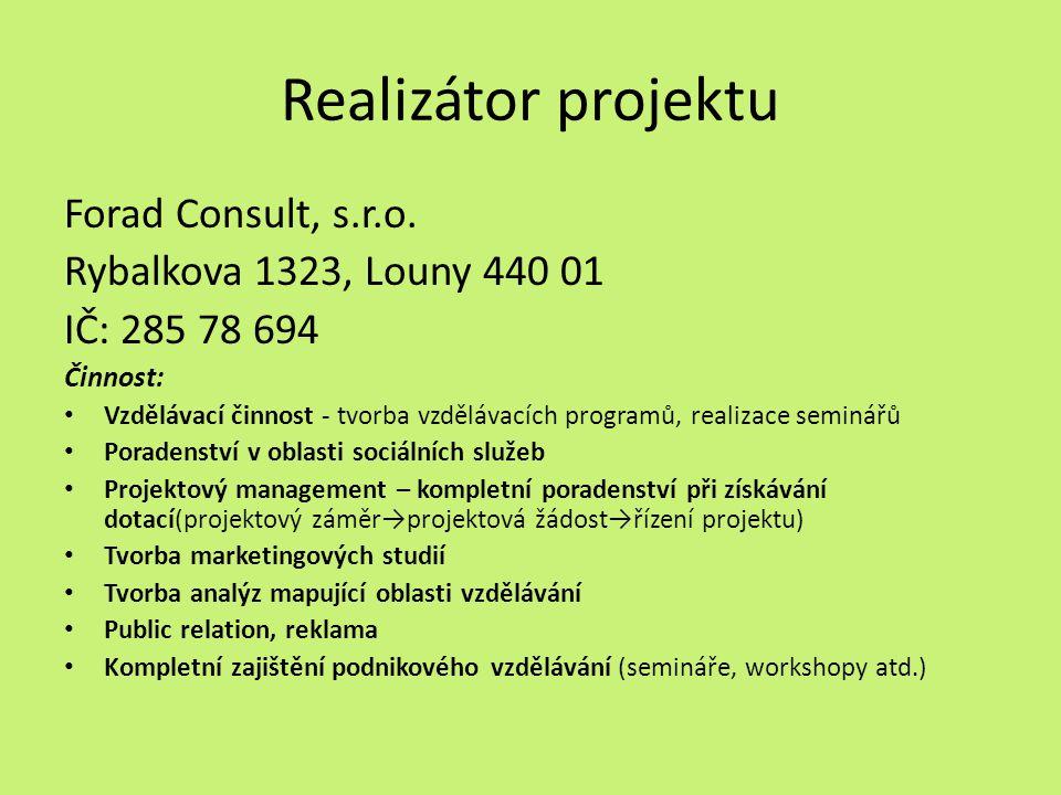 Realizátor projektu Forad Consult, s.r.o.